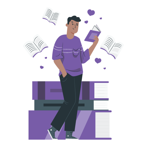 Illustration of a book lover
