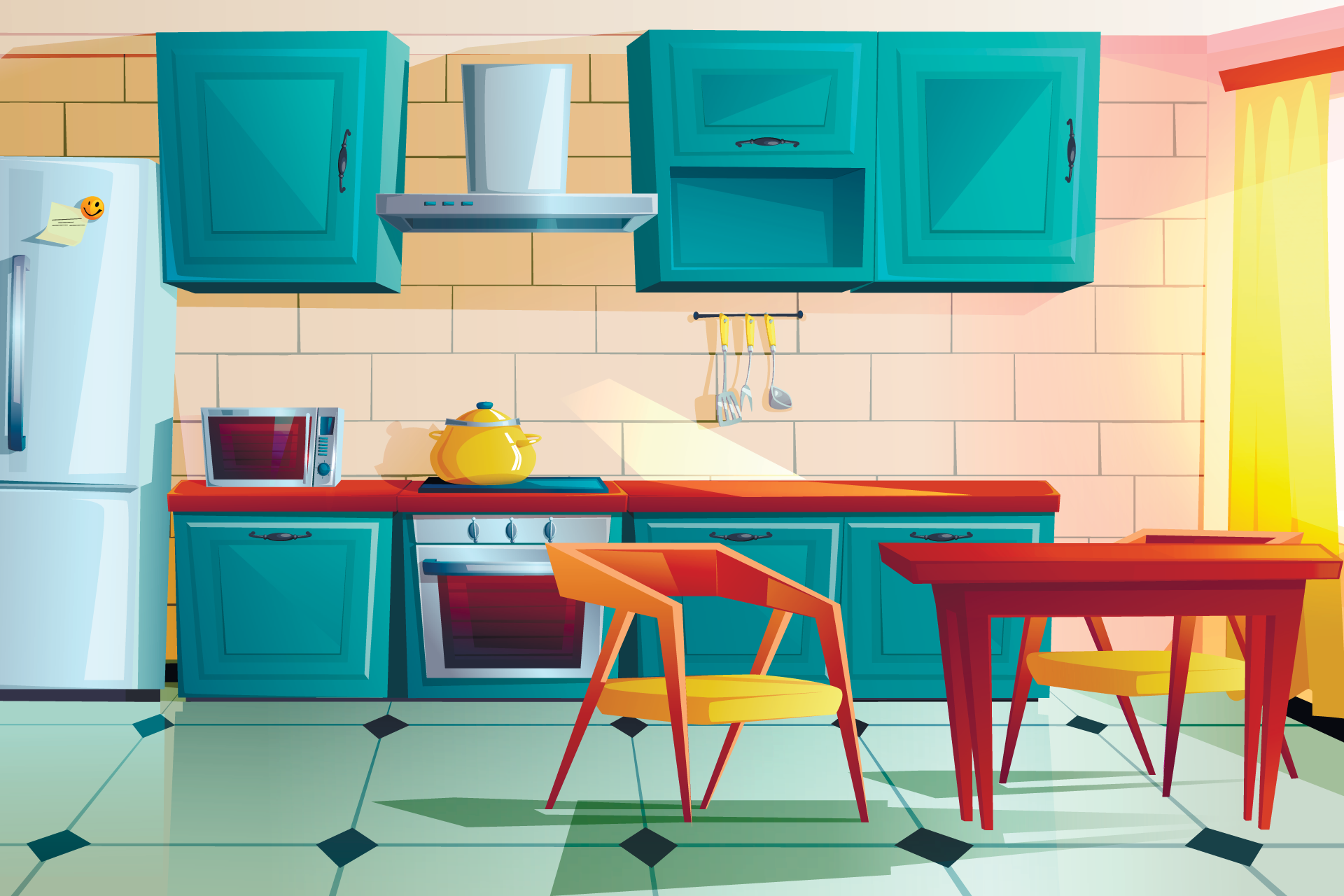 Illustration of an empty kitchen with table and chairs