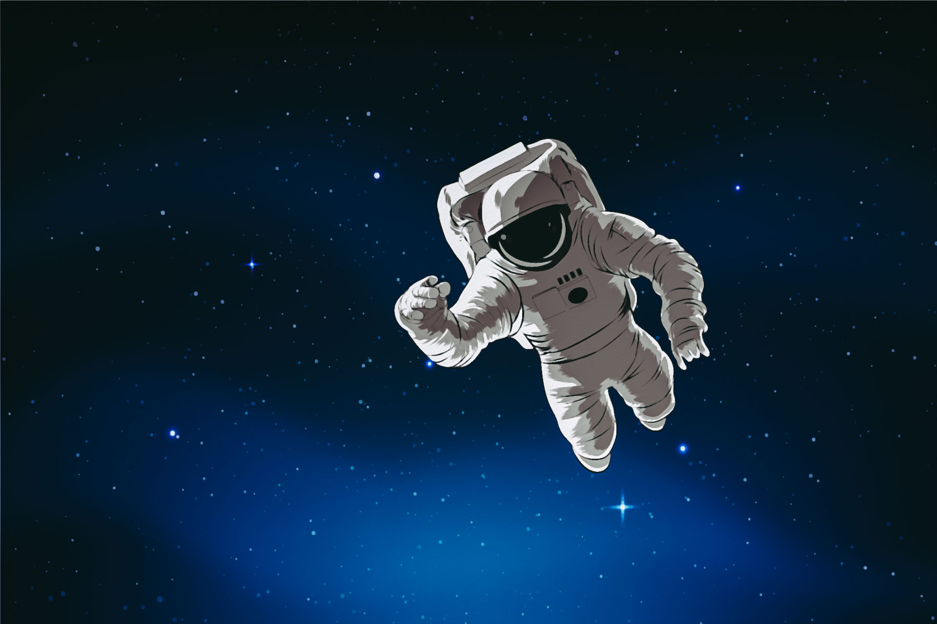 Illustration of an astronaut floating in deep space