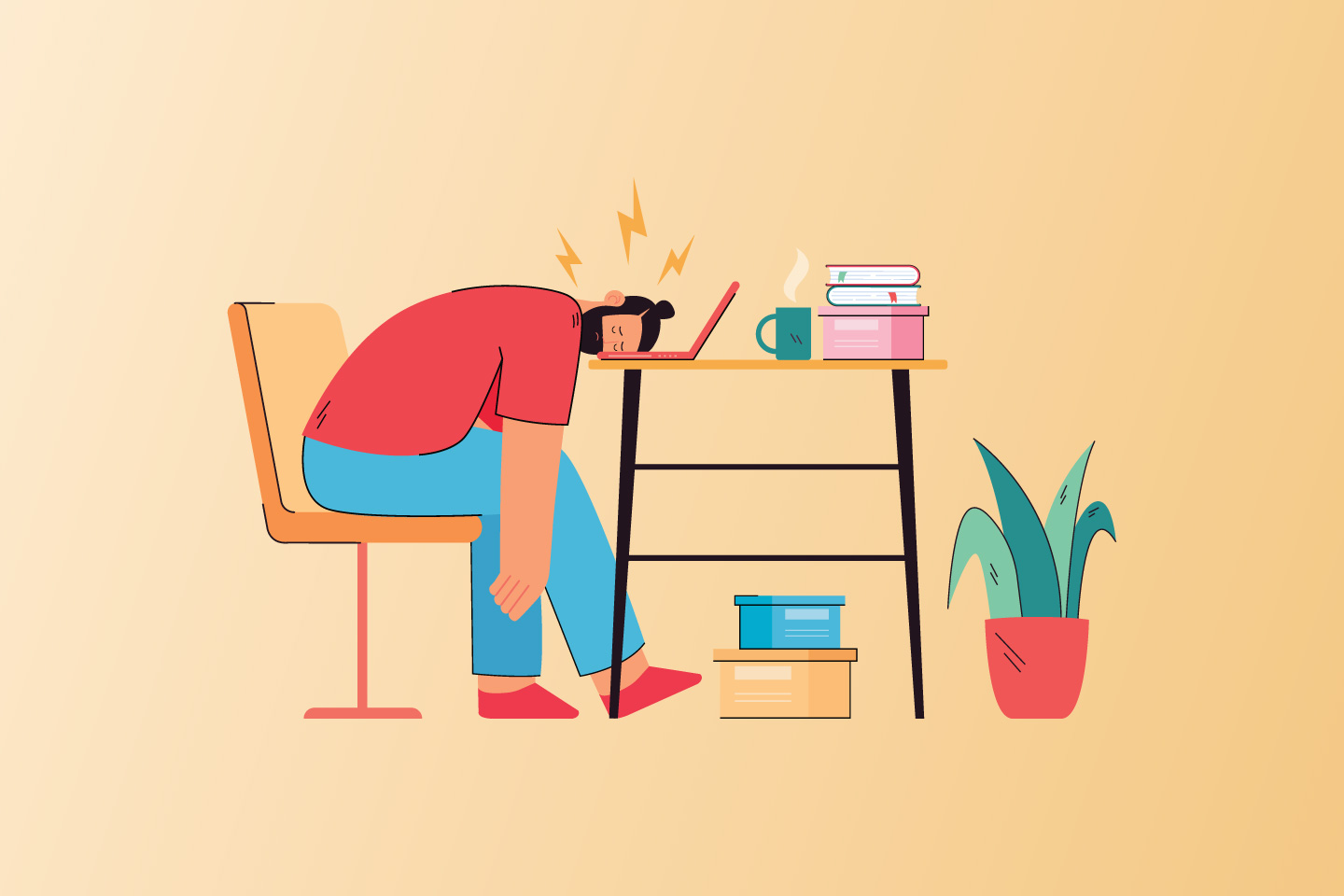 Illustration of a frustrated writer laying their head on a laptop keyboard