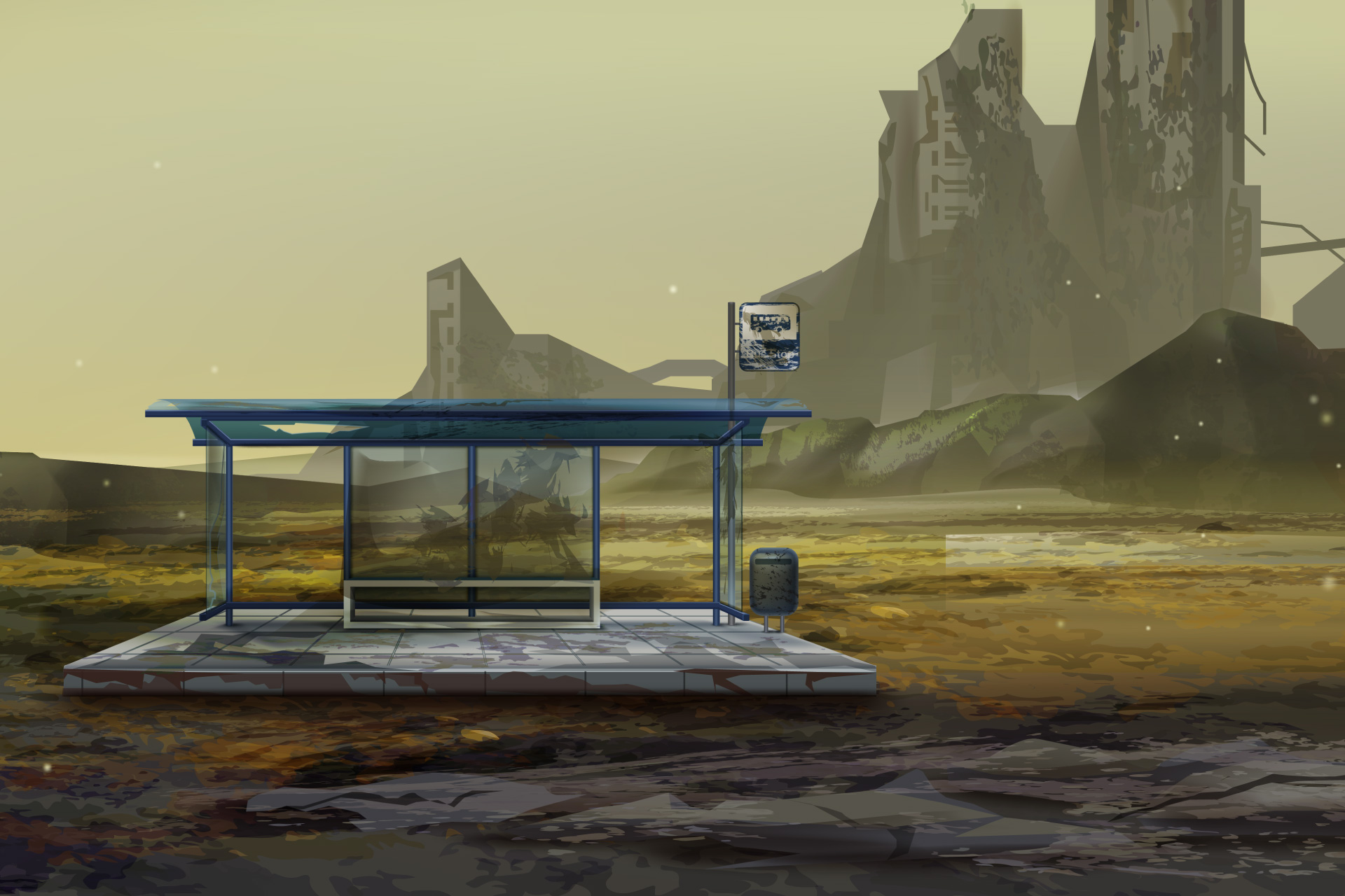 Illustration of a ruined city with a bus stop and broken buildings