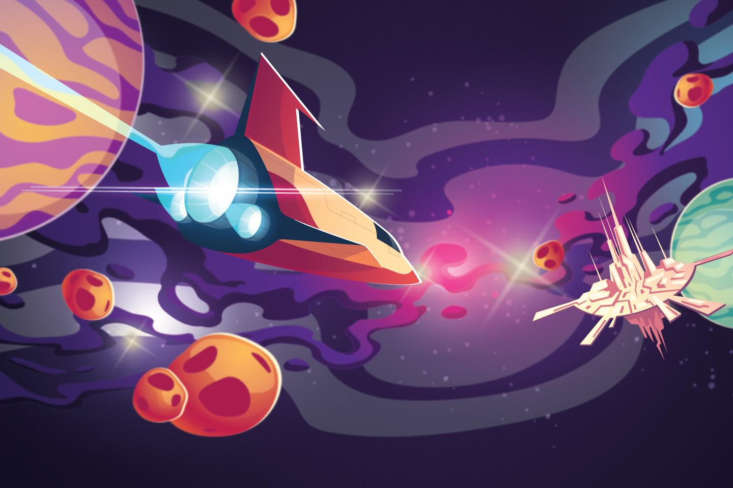 Illustration of a space ship flying toward a space station with a colorful galactic background