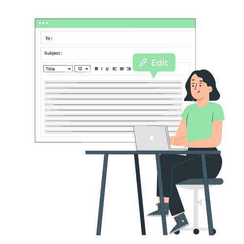 Illustration of a person sitting at a computer editing their writing
